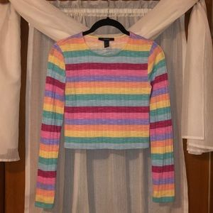 Forever 21 Rainbow Cropped Long Sleeve Top